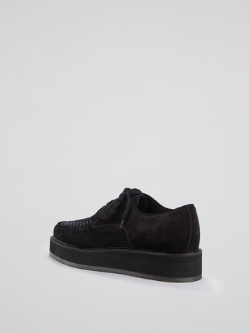 Black Platform Suede Shoes
