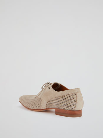 Beige Lace-Up Derby Shoes