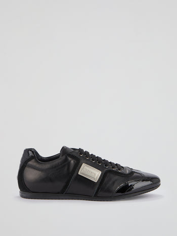 Black Lace-Up Leather Shoes