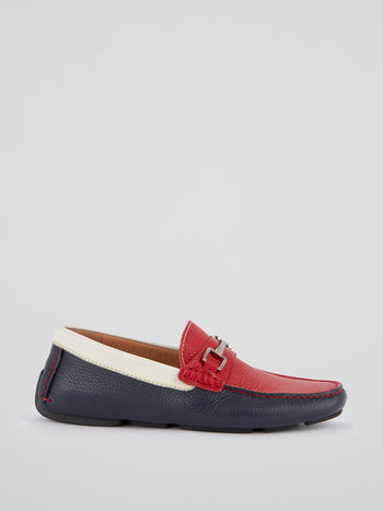 Colour Block Leather Loafers