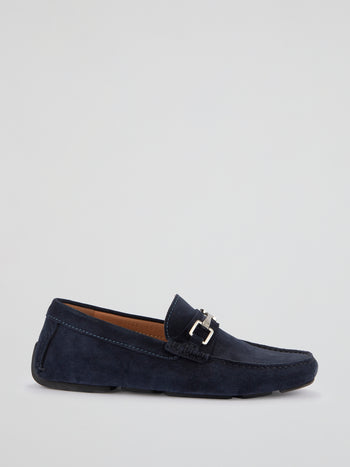 Navy Suede Loafers