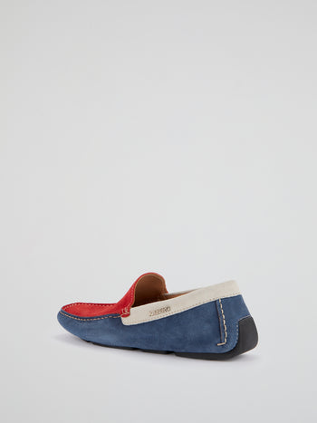 Colour Block Suede Loafers