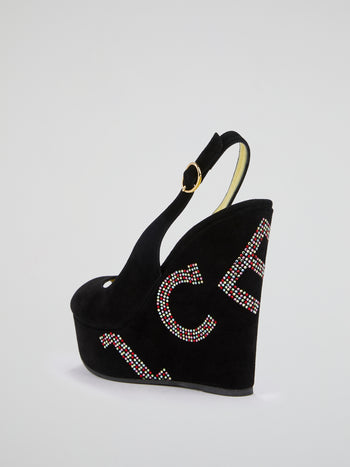 Black Studded Logo Wedges