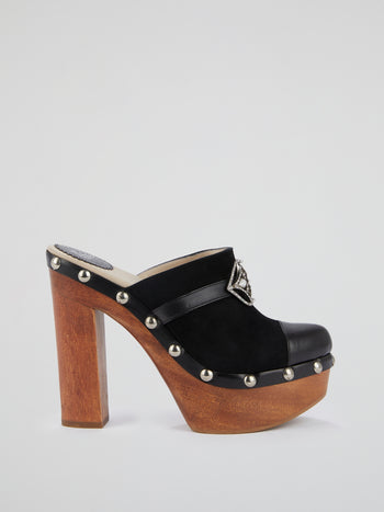 Black Embellished Clog Sandals