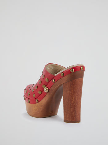 Red Studded Clog Sandals