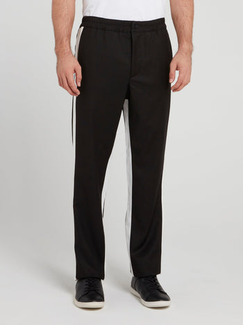 Black Contrast Side Stripe Pants