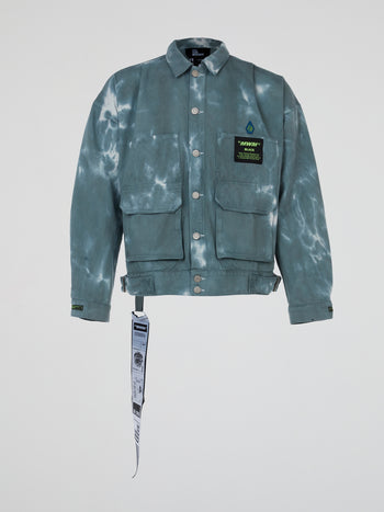 Tie-Dye Cargo Denim Jacket