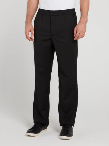 Black Elastic Waist Straight Cut Pants