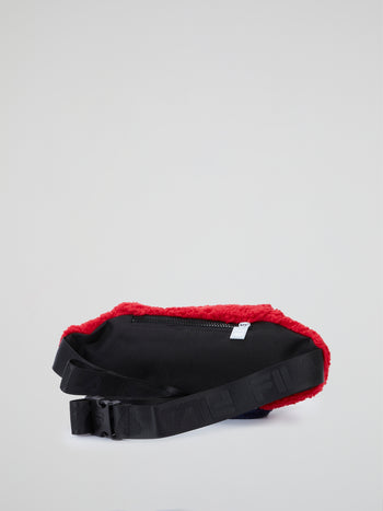 Colour Block Plush Waist Bag