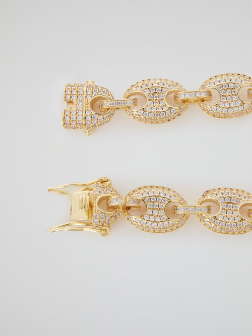 Diamond Gucci Link Gold Bracelet