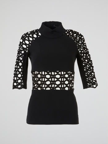Black High Neck Cage Top