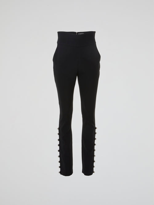 Black Button Embellished High-Rise Pants