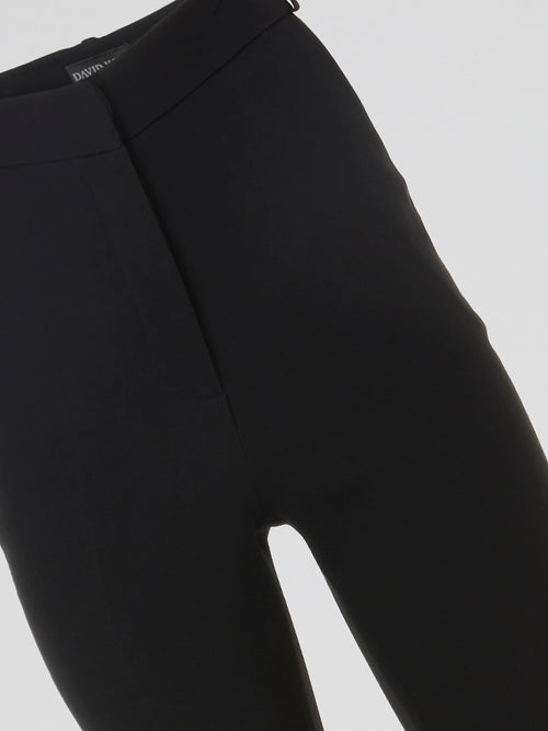 Black Button Detailed High-Waist Pants