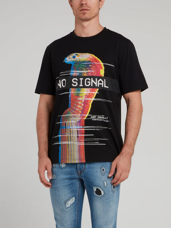 Black Graphic Print Cotton T-Shirt