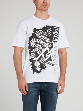 White Sketch Printed T-Shirt