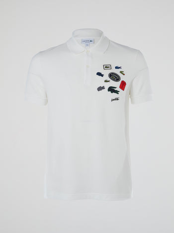 White Patchwork Polo Shirt