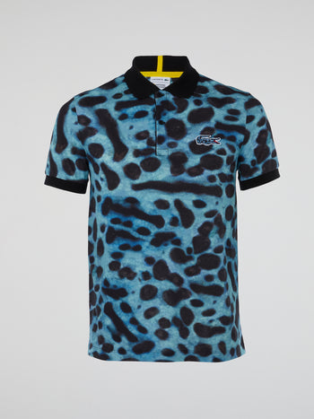 Animal Print Short Sleeve Polo Shirt