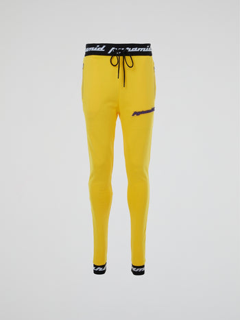 Yellow Rubber Logo Patched Pants