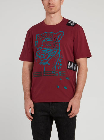 Burgundy Leopard Head Print T-Shirt