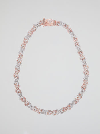 "Two-Tone Gold Diamond Infinity Chain (22"" 12mm)"