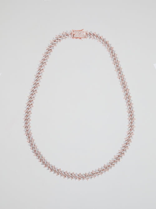 Two-Tone Diamond Spiked Cuban Chain (22