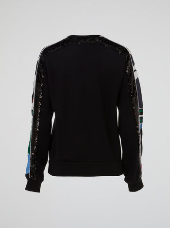 Black Sequin Embellished Sweatshirt