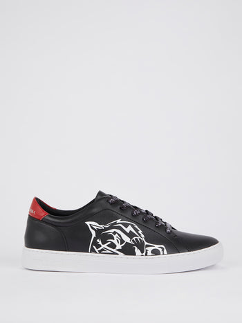 Black Tiger Print Low-Top Sneakers