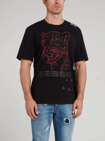 Black Leopard Head Print T-Shirt
