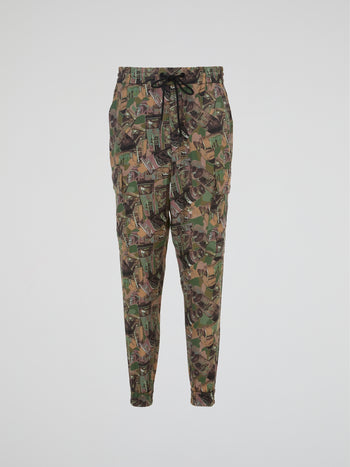 Camo Drawstring Cargo Trousers