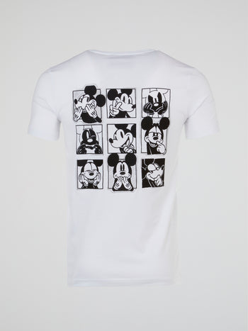 Mickey Mouse White Rear Print T-Shirt