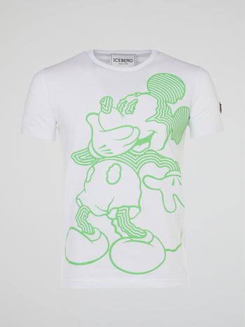 Mickey Mouse White Psychedelic Print T-Shirt