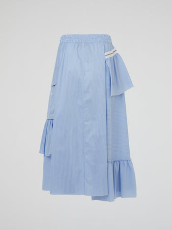 Blue Pinstripe Asymmetric Skirt