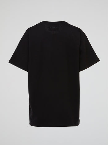 Black Knit Detail T-Shirt