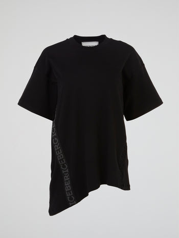 Black Asymmetric Oversized T-Shirt