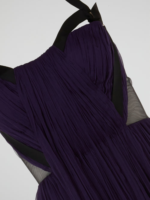 Purple Halter Neck Cami Pleated Tulle Mini Dress