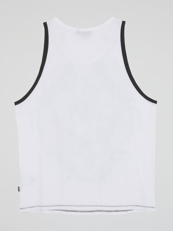 White Printed Tank Top
