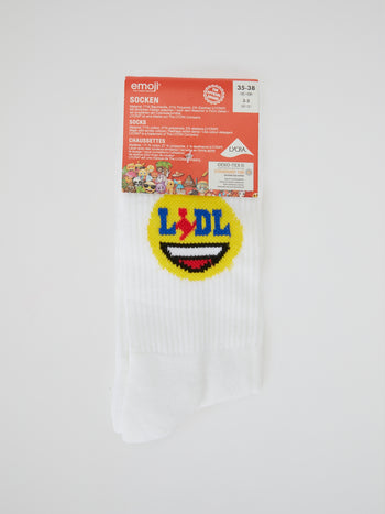 White Lidl Emoji Socks