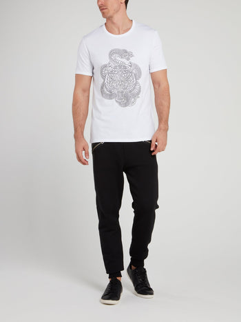 White Studded Snake Logo T-Shirt