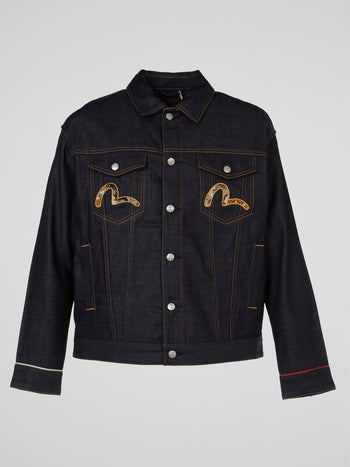 Scroll Daicock Brocade Patched Denim Jacket