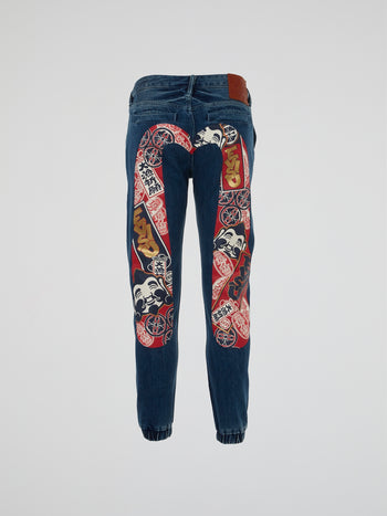 Godhead All-Over Print Daicock Denim Joggers