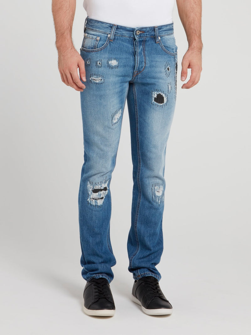 Blue Wash Distressed Denim Jeans