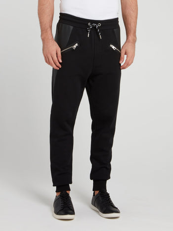 Black Drawstring Cotton Track Pants