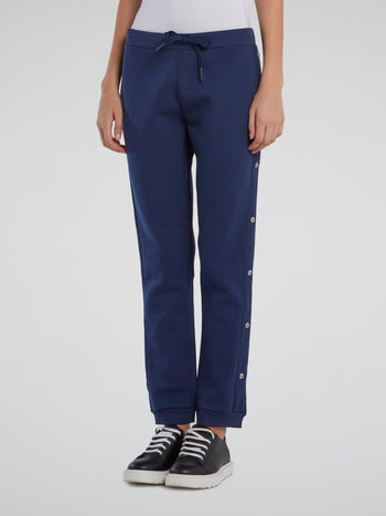 Navy Side Button Track Pants