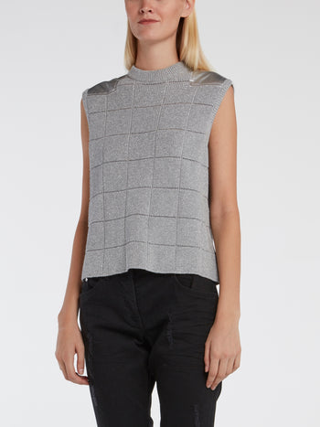 Grey Glittered Knitted Top