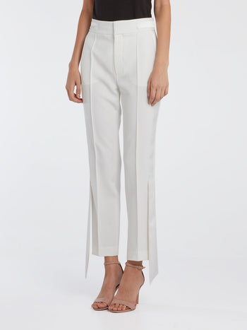 White Skinny Tux Pants