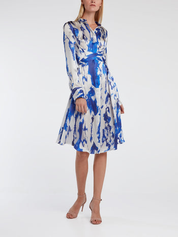 Printed Silk Midi Dress