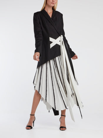 Feather-Detail Pleated Jacket Dress