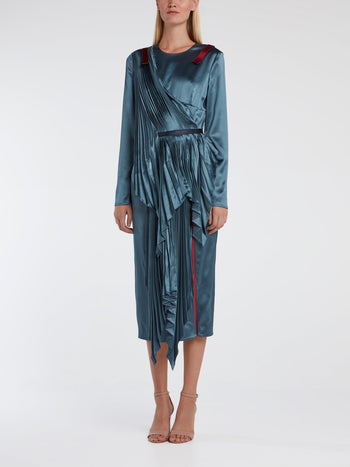 Sculptural Pleated Satin Dress