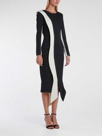 Contrast Detail Tux Dress