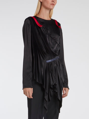 Black Sculptural Pleated Top